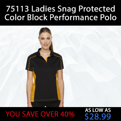 75113 Ladies Snag Protected Color Block Performance Polo
