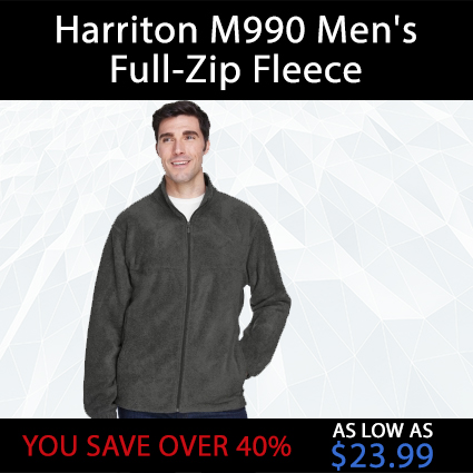 Harriton M990 Men's Full-Zip Fleece